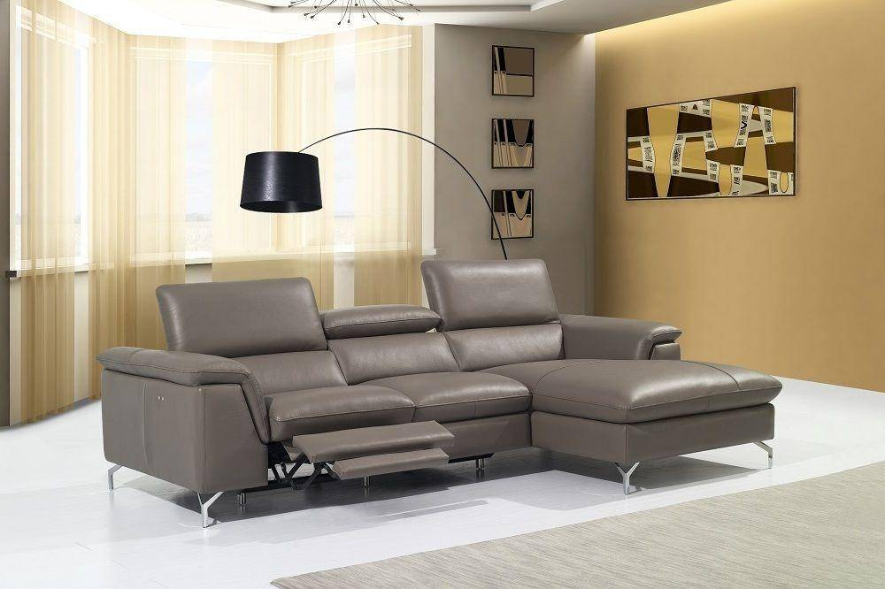 J Amp M Angela Modern Sectional Recliner Taupe Premium Leather