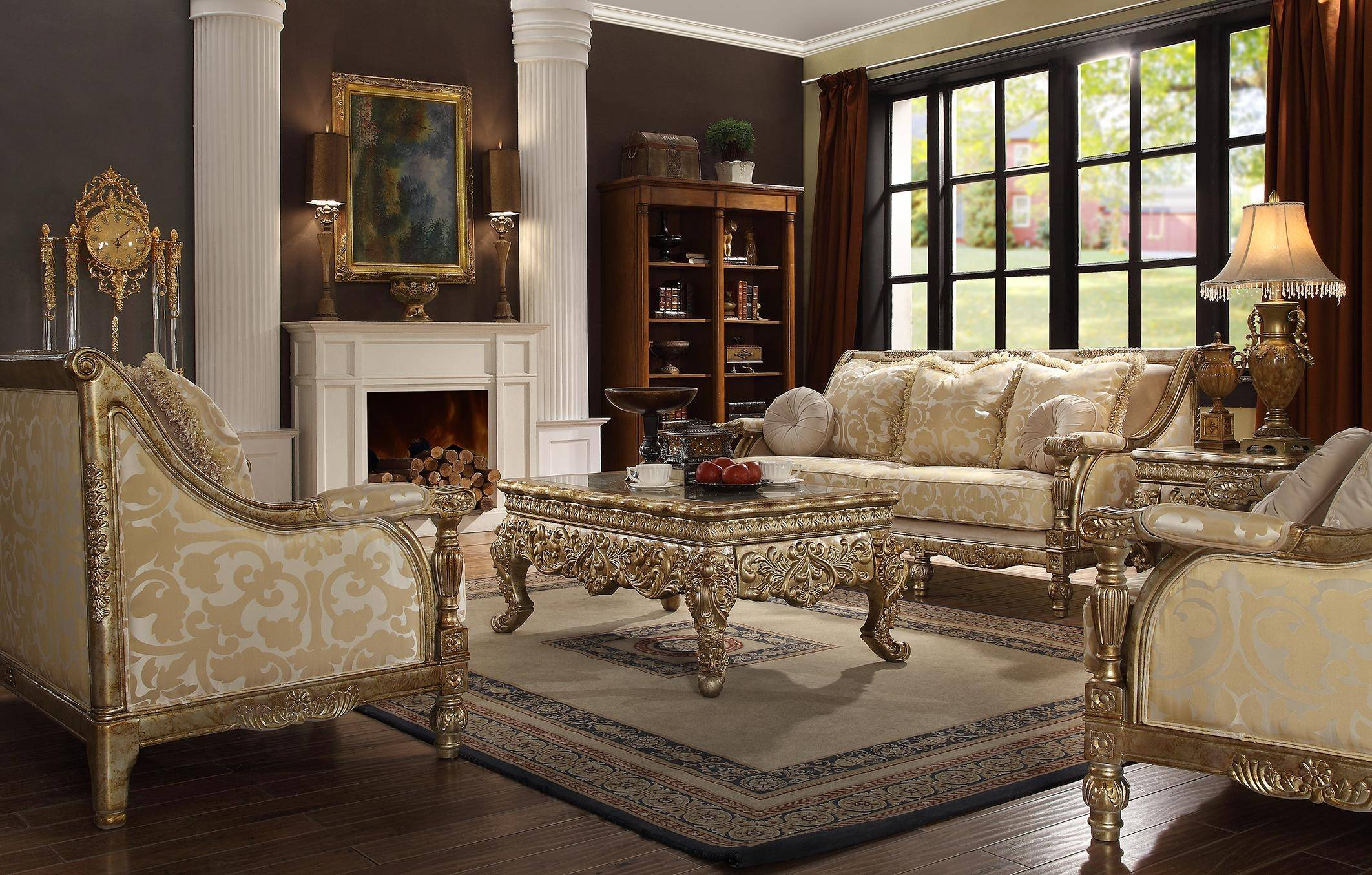 Homey Design Hd 205 Antique Gold Finish Victorian Living Room Sofa Set 7pcs Carved Wood Hd 205 Set 7