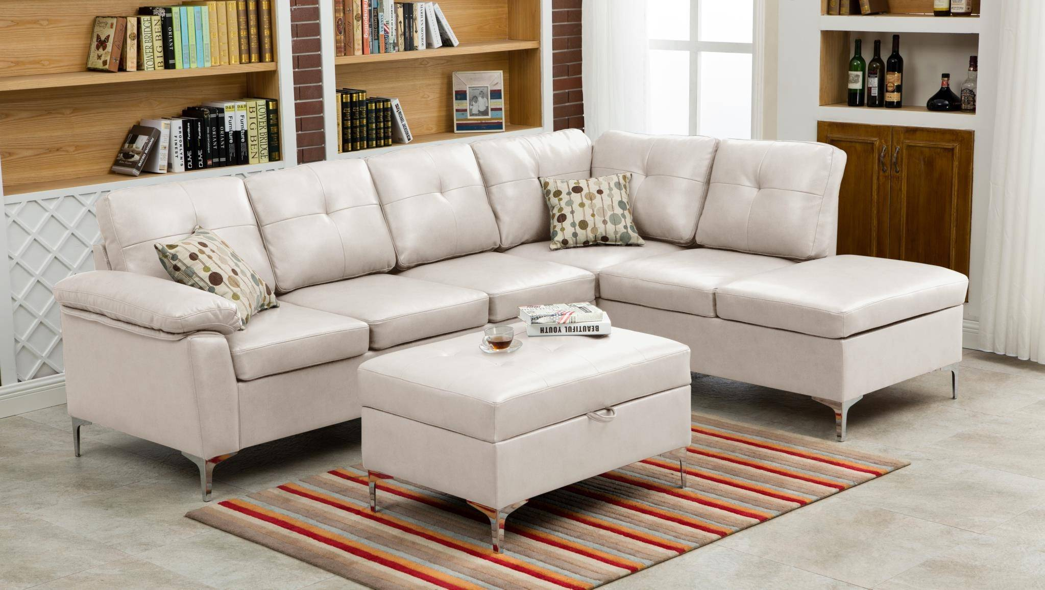 MYCO Furniture Macy Modern White Bonded Leather Sectional w/Storage ...