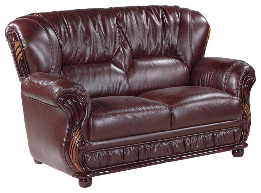 Meridian 639 Mina Burgundy Bonded Leather Sofa Set 3Pcs ...