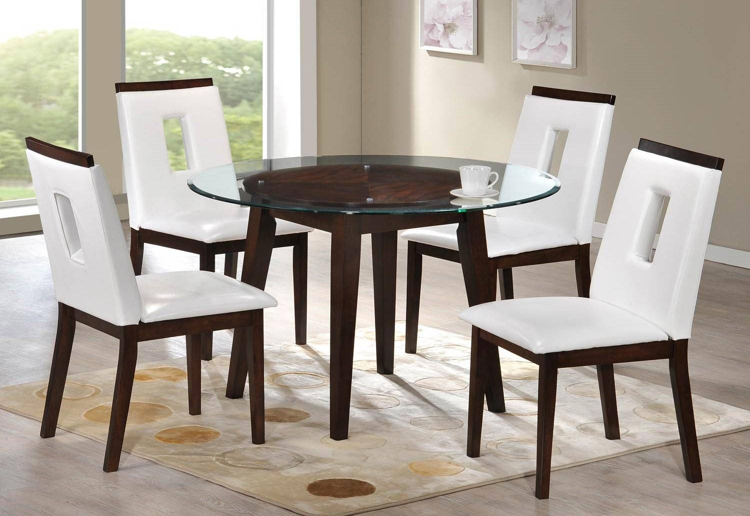 Excellent Myco Furniture Wegman Round Glass Top Table White Leather Pdpeps Interior Chair Design Pdpepsorg