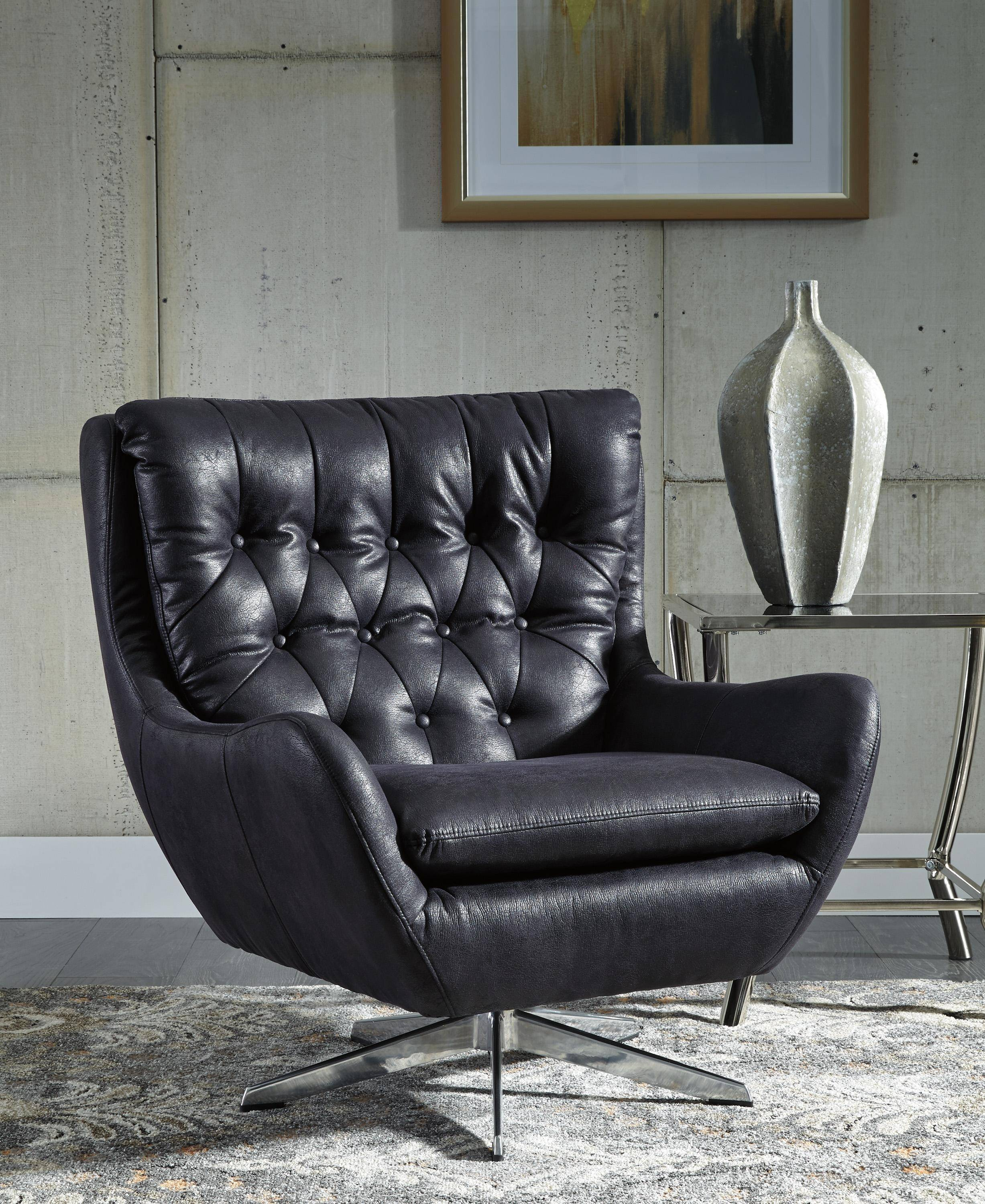 Surprising Ashley Velburg A3000094 Accent Chair In Black Faux Leather Ncnpc Chair Design For Home Ncnpcorg
