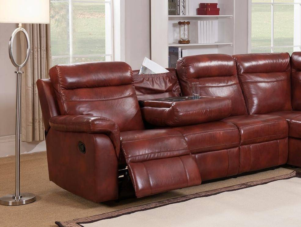 Caramel Genuine Leather Reclining Sectional Sofa w/Storage ...