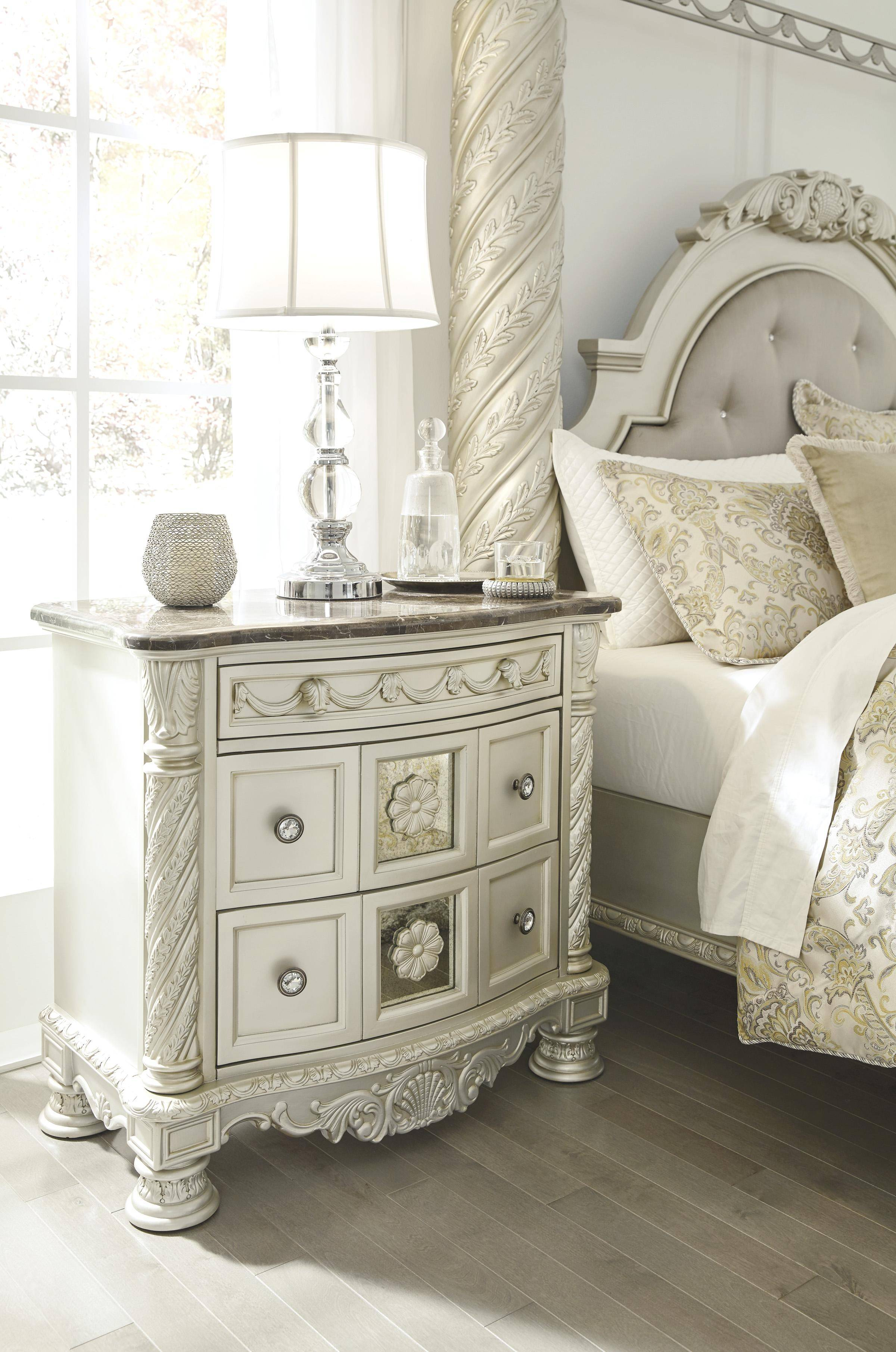 Ashley Cassimore B750 King Size Panel Bedroom Set 5pcs In Pearl Silver B750 58 56 97 31 36 93 2 Set 5