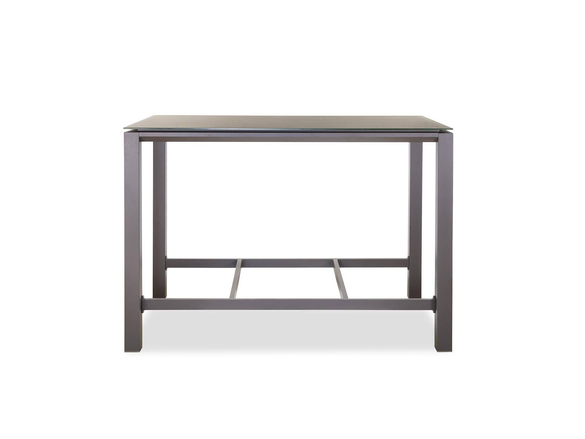 Outdoor Bar Table W Tempered Glass Top, Outdoor Glass Top Bar Table