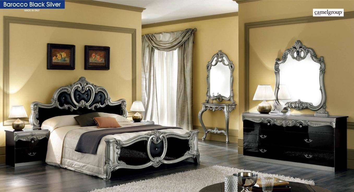 ESF Barocco Luxury Glossy Black Silver Queen Bedroom Set 5 Classic ...