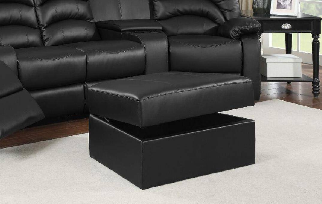 Soflex Lyra Reclining Black Leather Sectional w/Ottoman Home ...