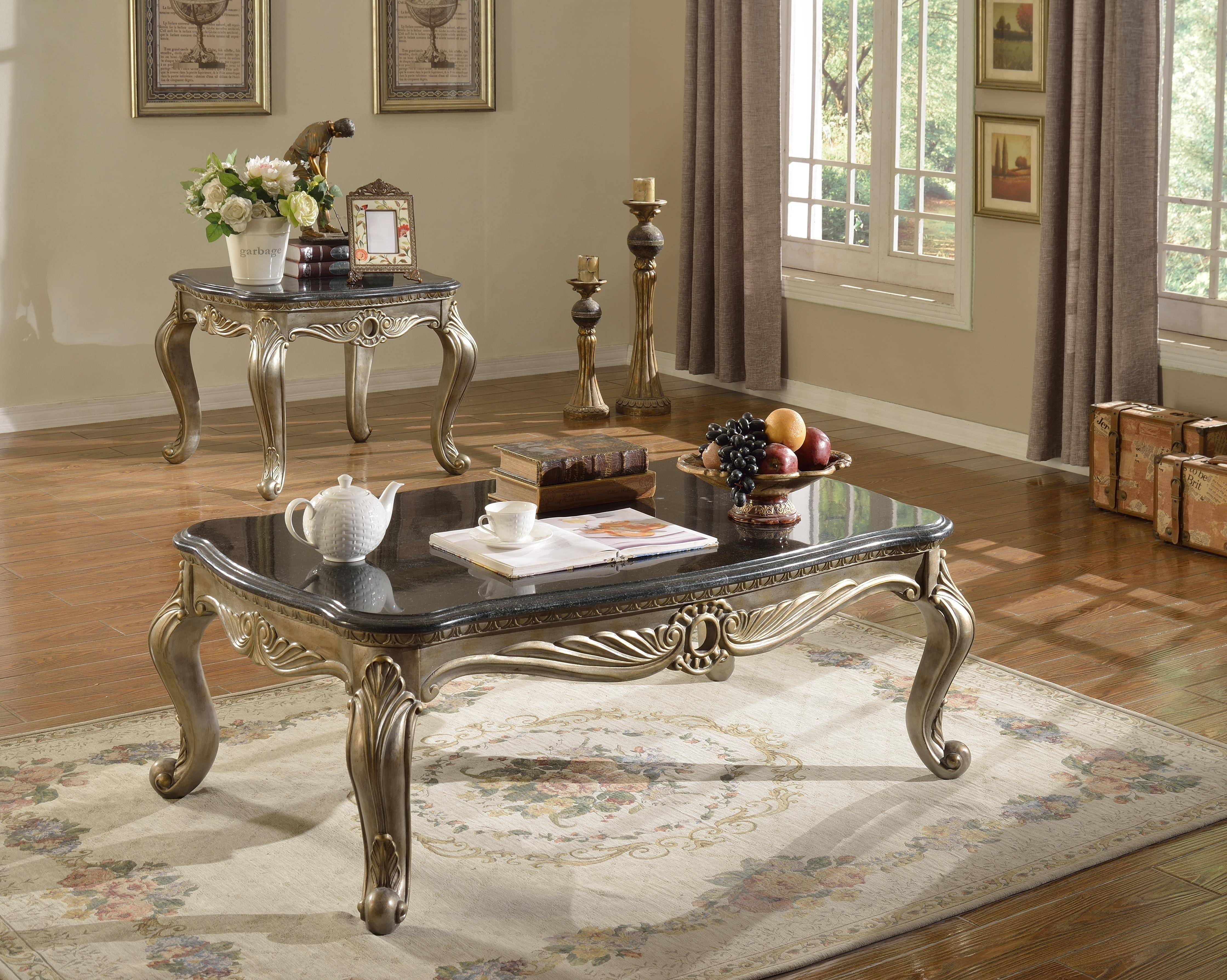 meridian roma coffee table set 3pcs in antique silver