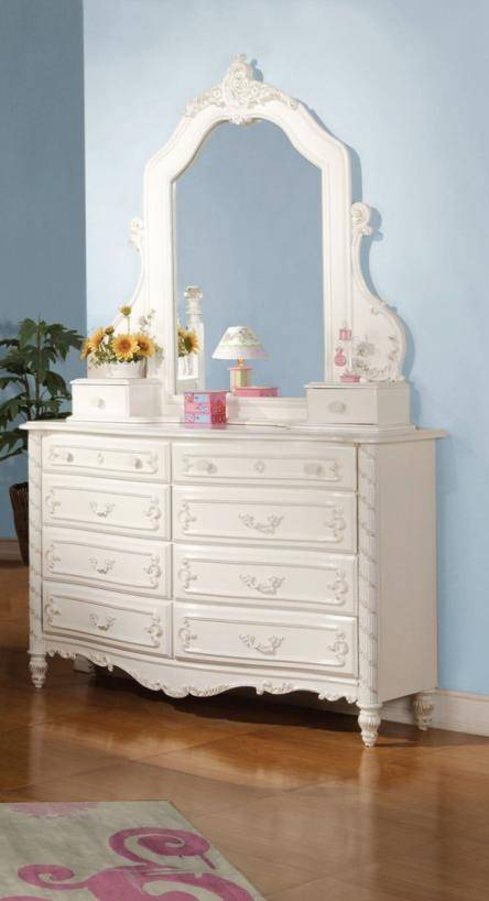 Acme Furniture 11000t Pearl White Youth Upholstered Poster Twin