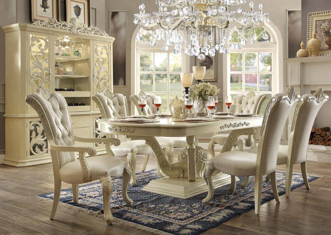 Homey Design HD 27 Ivory Formal Dining Table Set 7Pcs Carved Wood  Traditional Reviews