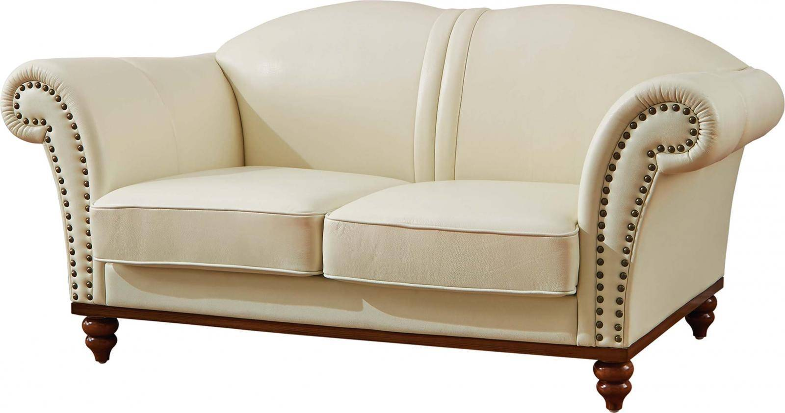 ESF 2601 Ivory Italian Leather Living Room Sofa Set 2Pcs ...