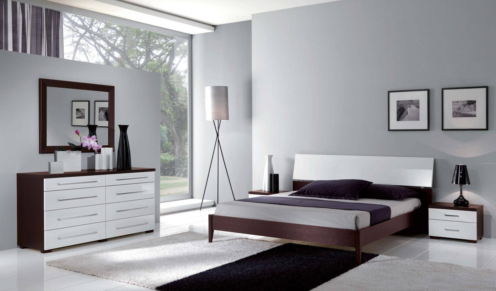 Superieur ESF Luxury Contemporary Bedroom Set In White U0026 Wenge King Bed 3Pcs Made In  Italy Reviews