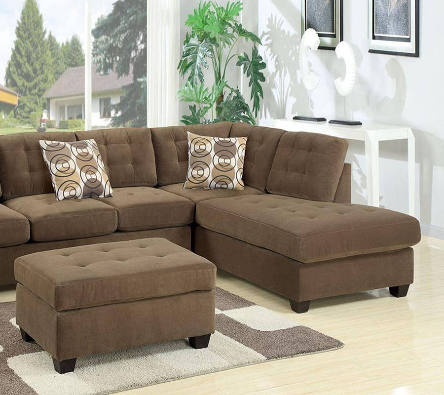 Roomstore Furniture Store: Brown Fabric Sectional Sofa F7140 Poundex Modern