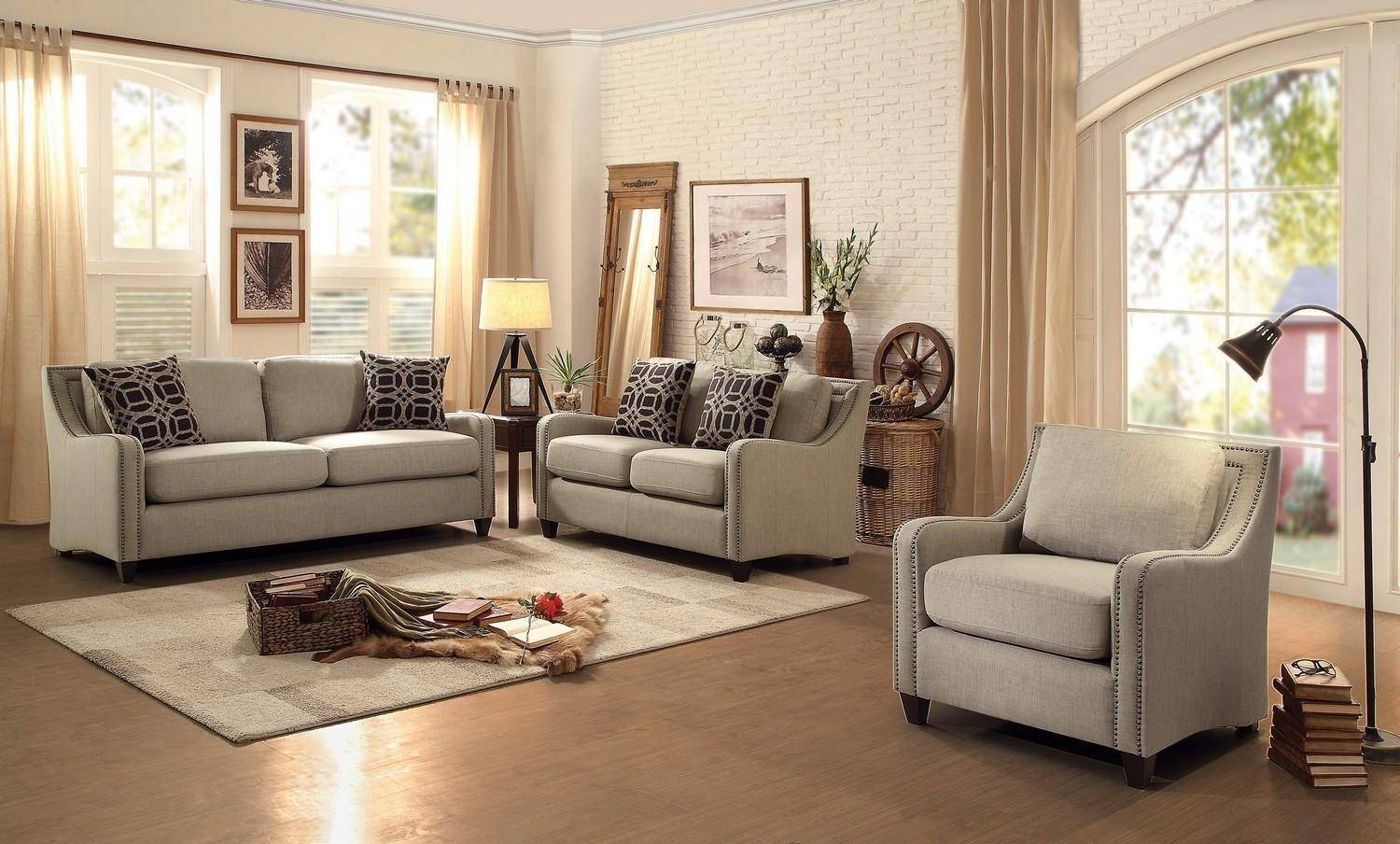 appealing traditional fabric sofas living room furniture | Homelegance Gretna Traditional Bold Wheat Fabric Sofa ...