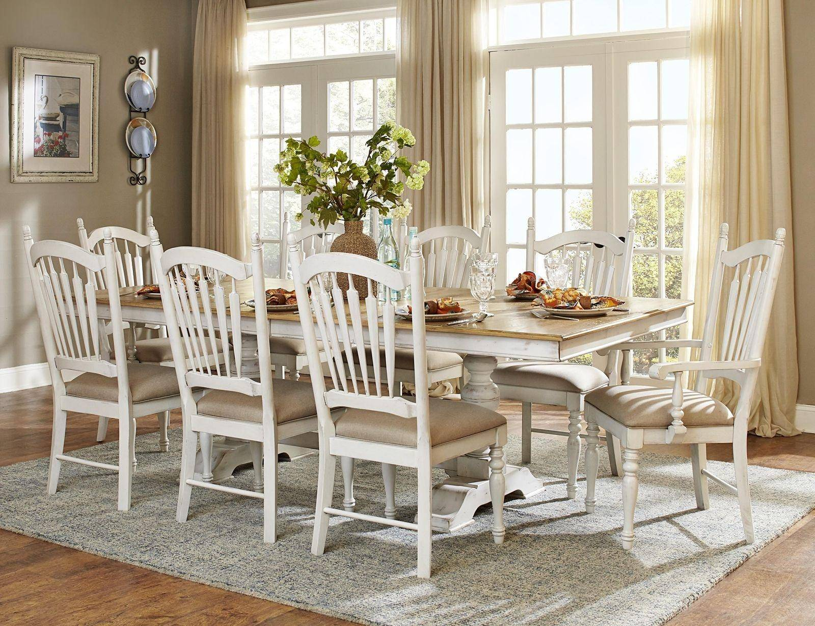 Outstanding 5123 96 Country 9P White Oak Wood Pedestal Leaf Dining Table Set Chair Gmtry Best Dining Table And Chair Ideas Images Gmtryco