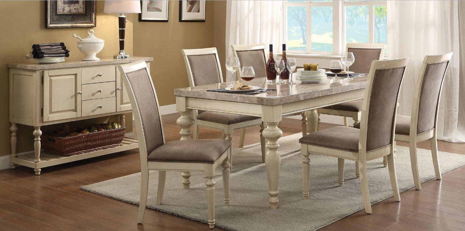 Acme 71705 Ryder Antique White Marble Top Dining Table Set 7pcs Classic Modern Acme Ryder 71705 Set 7