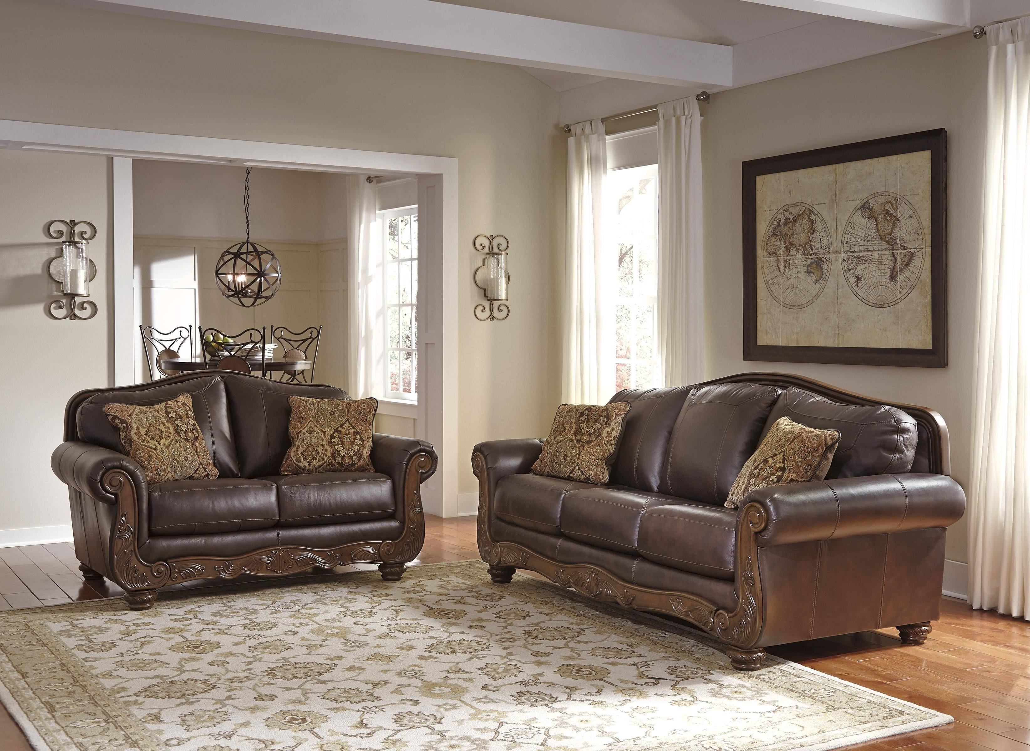 Ashley Mellwood Living Room Set 2pcs Walnut Color (64605