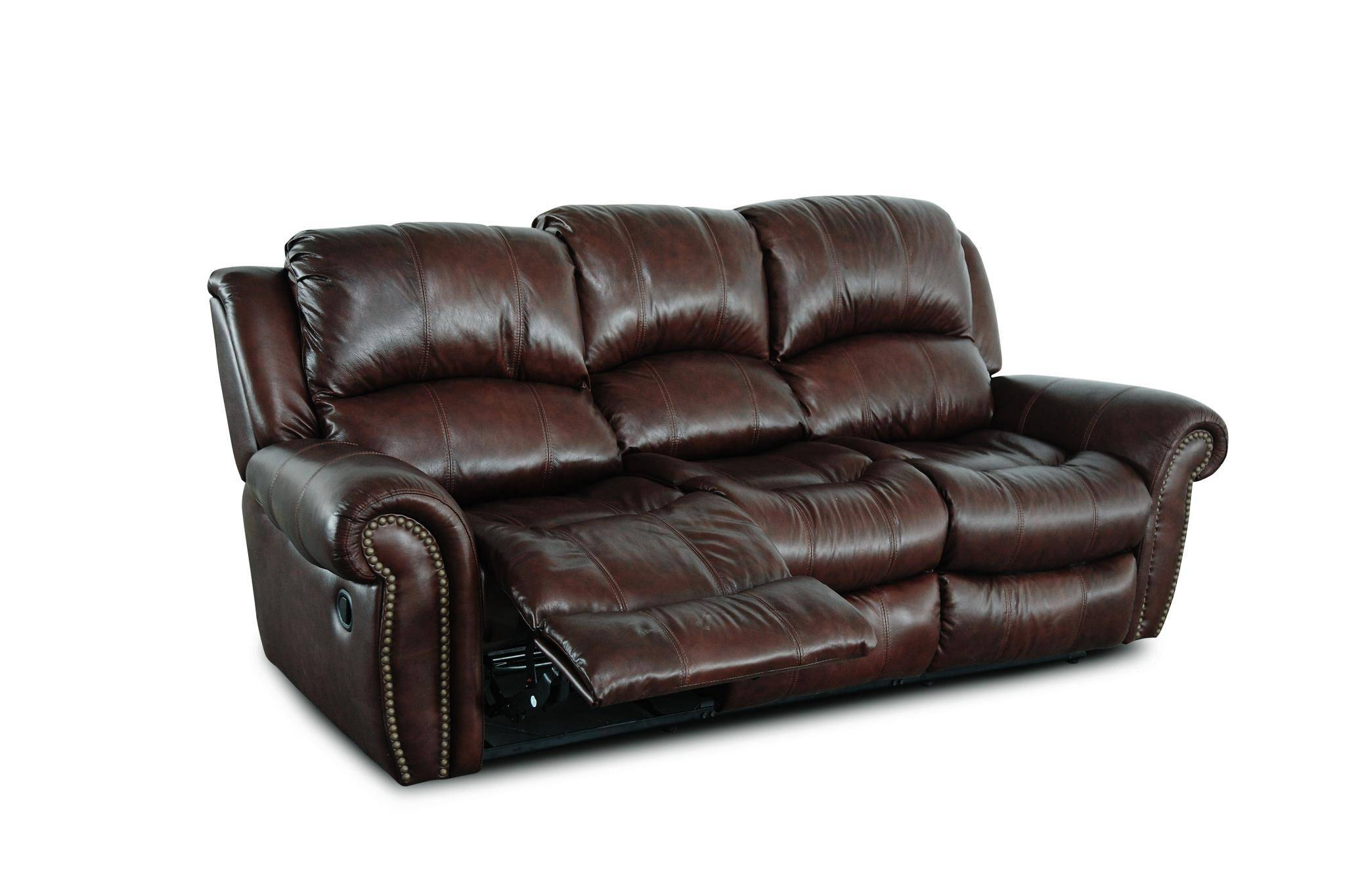 MYCO Furniture Gretna Burgundy Modern Leather Power Reclining Sofa Set 3Pcs