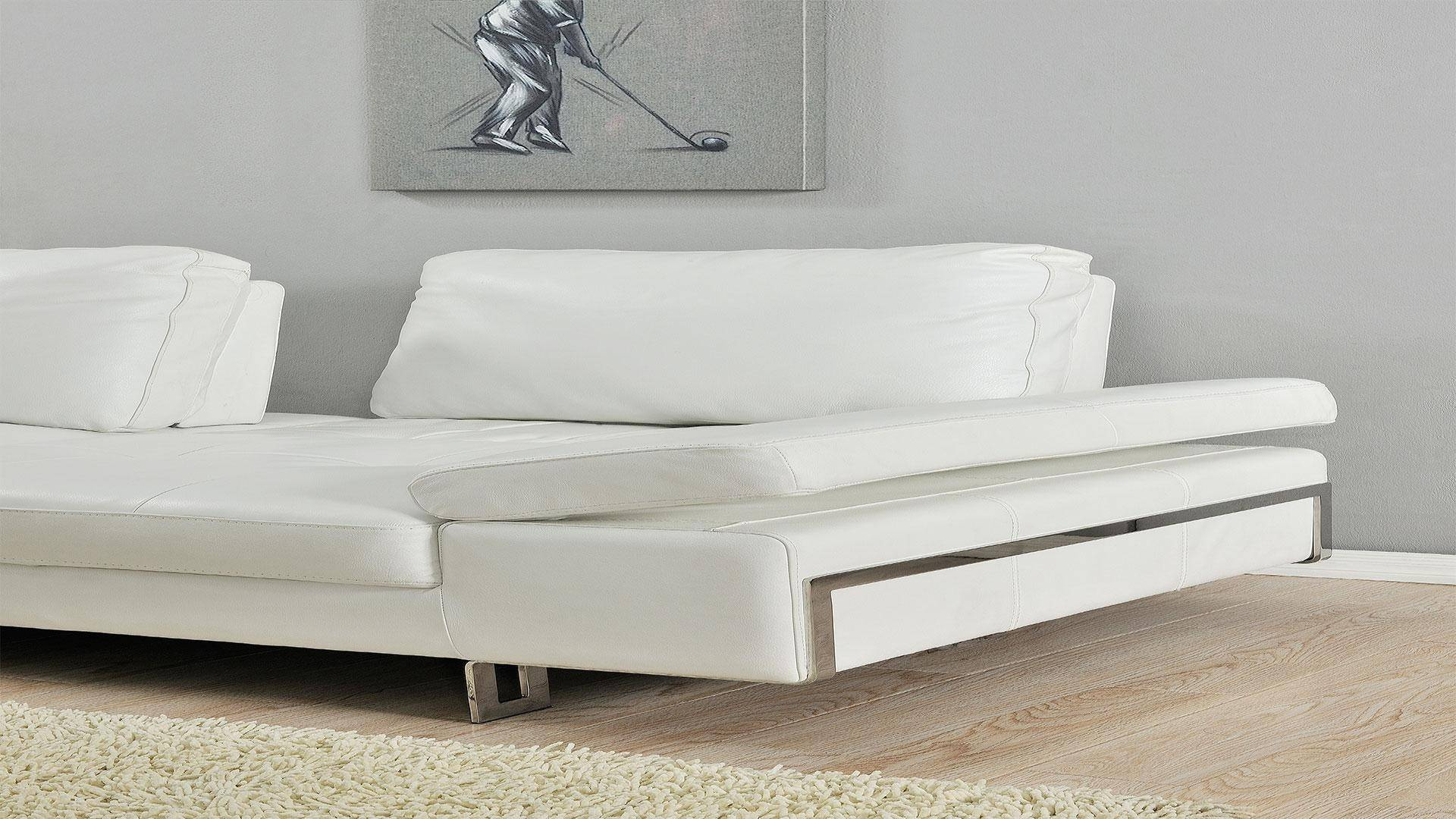 At Home USA Gia White Luxury Italian Leather Ultra Modern Sofa ...