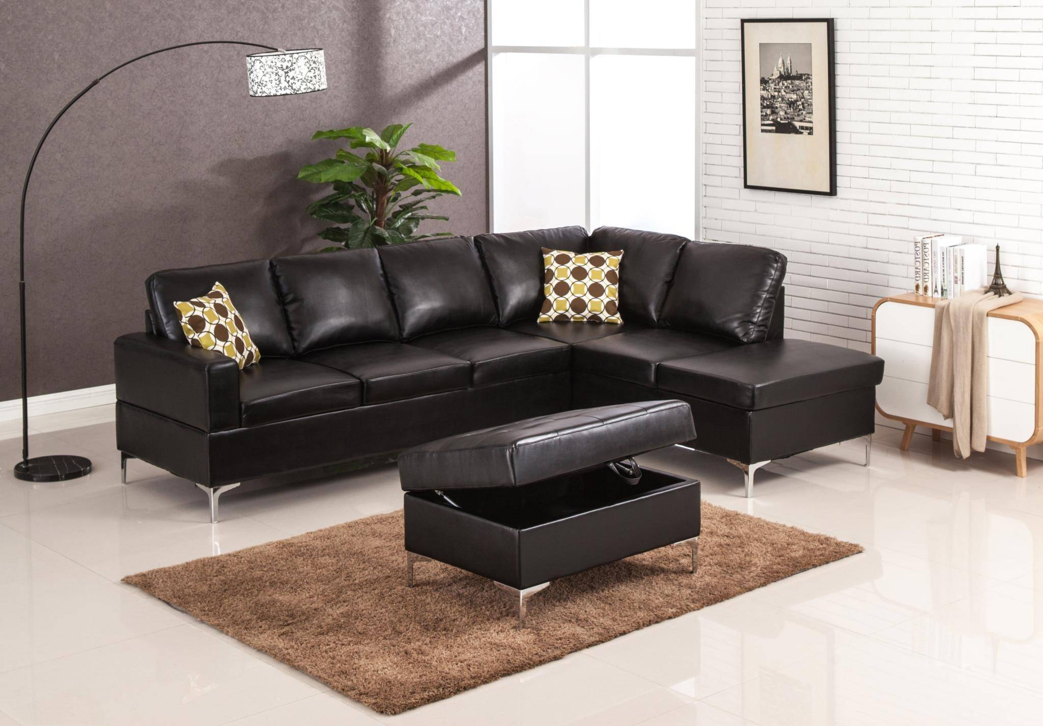 MYCO Furniture Maya Modern Black Bonded Leather Sectional w ...