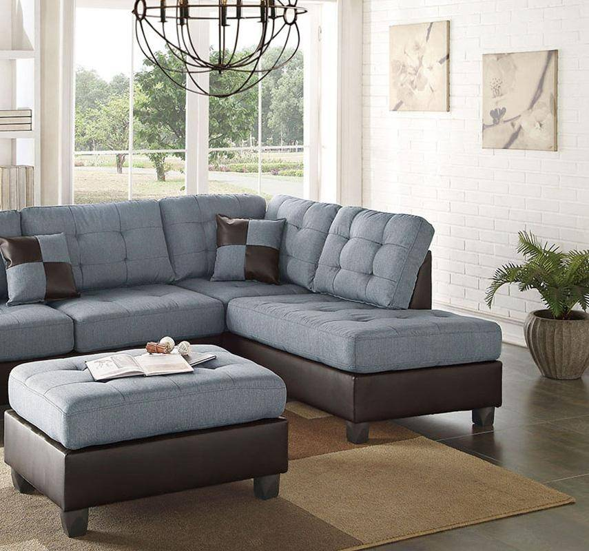 Blue,Brown Faux Leather Sectional Sofa Set 2Pcs F6858 Poundex Modern