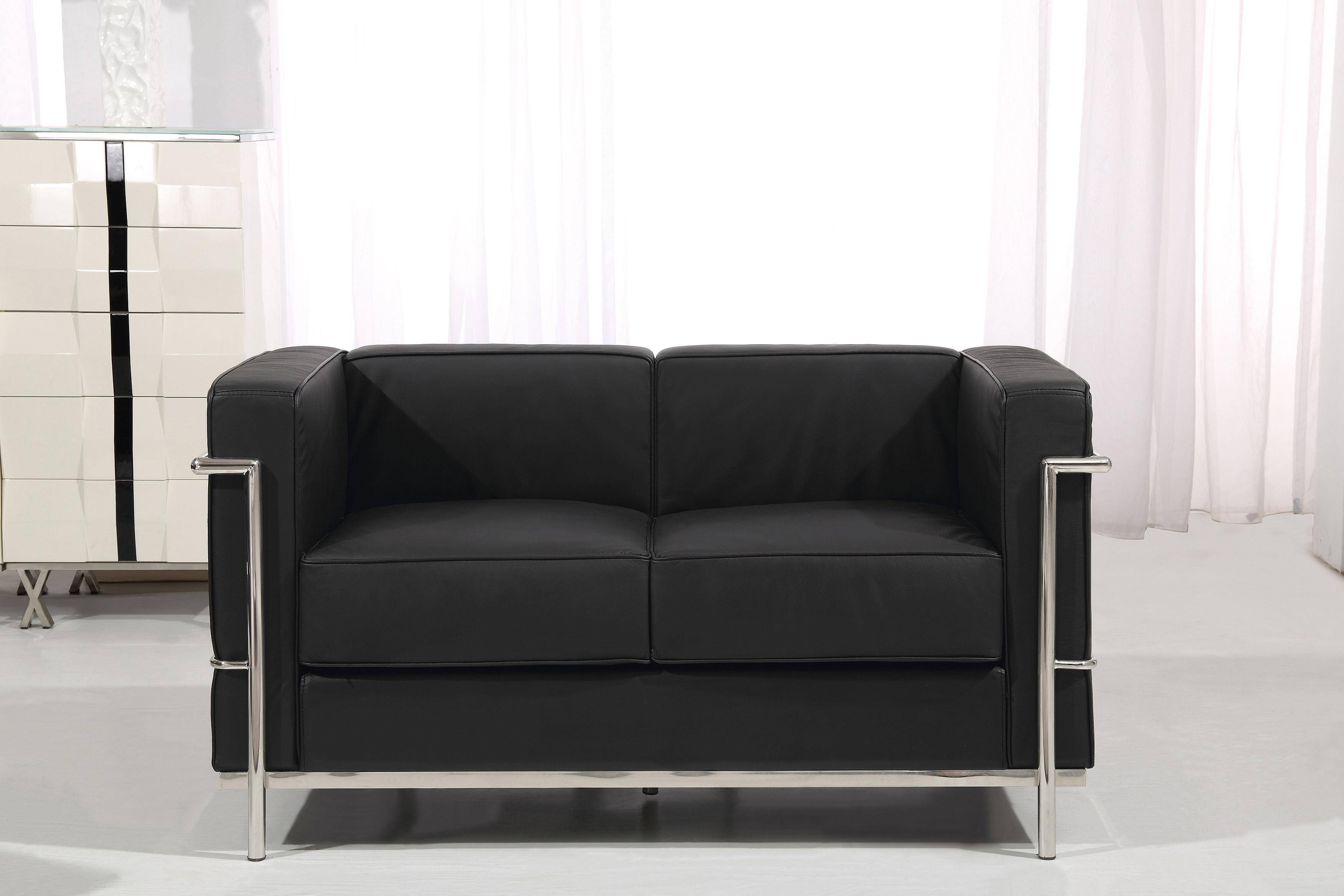 At Home Usa Nube Black Leather Living Room Sofa Set 3pcs