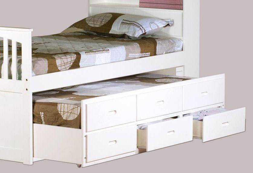 Myco Furniture 9063 Wh Avalon White Twin Captain S Bed With Trundle Storage