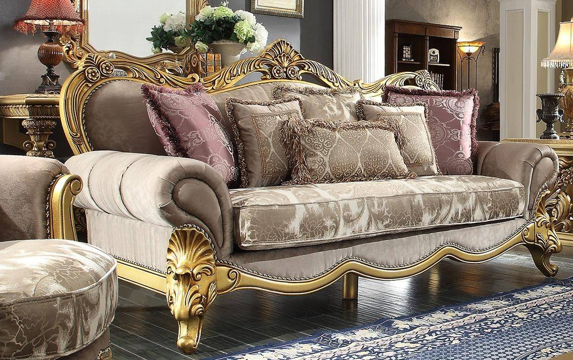 Awesome Homey Design Hd 1634 Victorian Upholstery Taupe Mixed Fabric Uwap Interior Chair Design Uwaporg