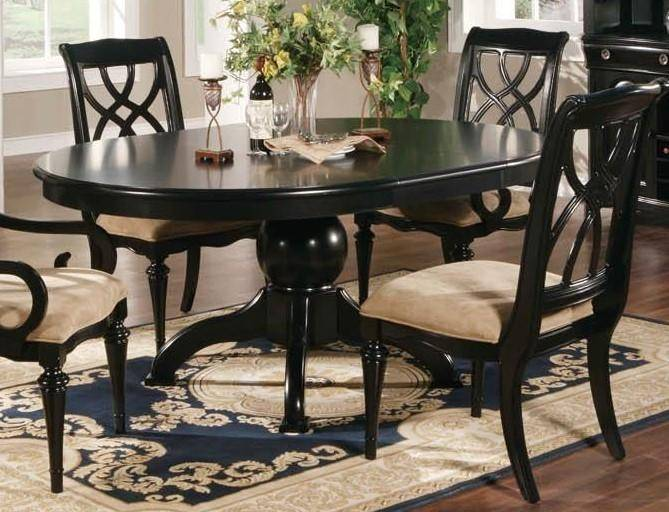 MYCO Furniture Bayle Traditional Oval Black Finish Table Dining Room Set  7Pcs