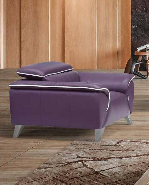 Outstanding Esf 1513 Purple Italian Half Leather Living Room Sofa Set 3 Pcs Contemporary Theyellowbook Wood Chair Design Ideas Theyellowbookinfo
