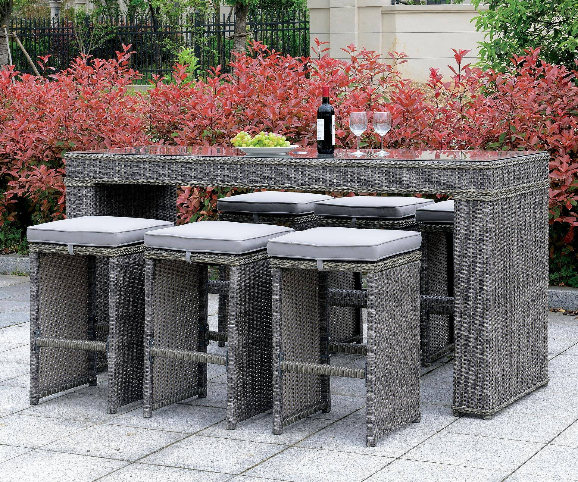 Superb Furniture Of America Ismay Outdoor Gray Wicker Frame Bar Gmtry Best Dining Table And Chair Ideas Images Gmtryco