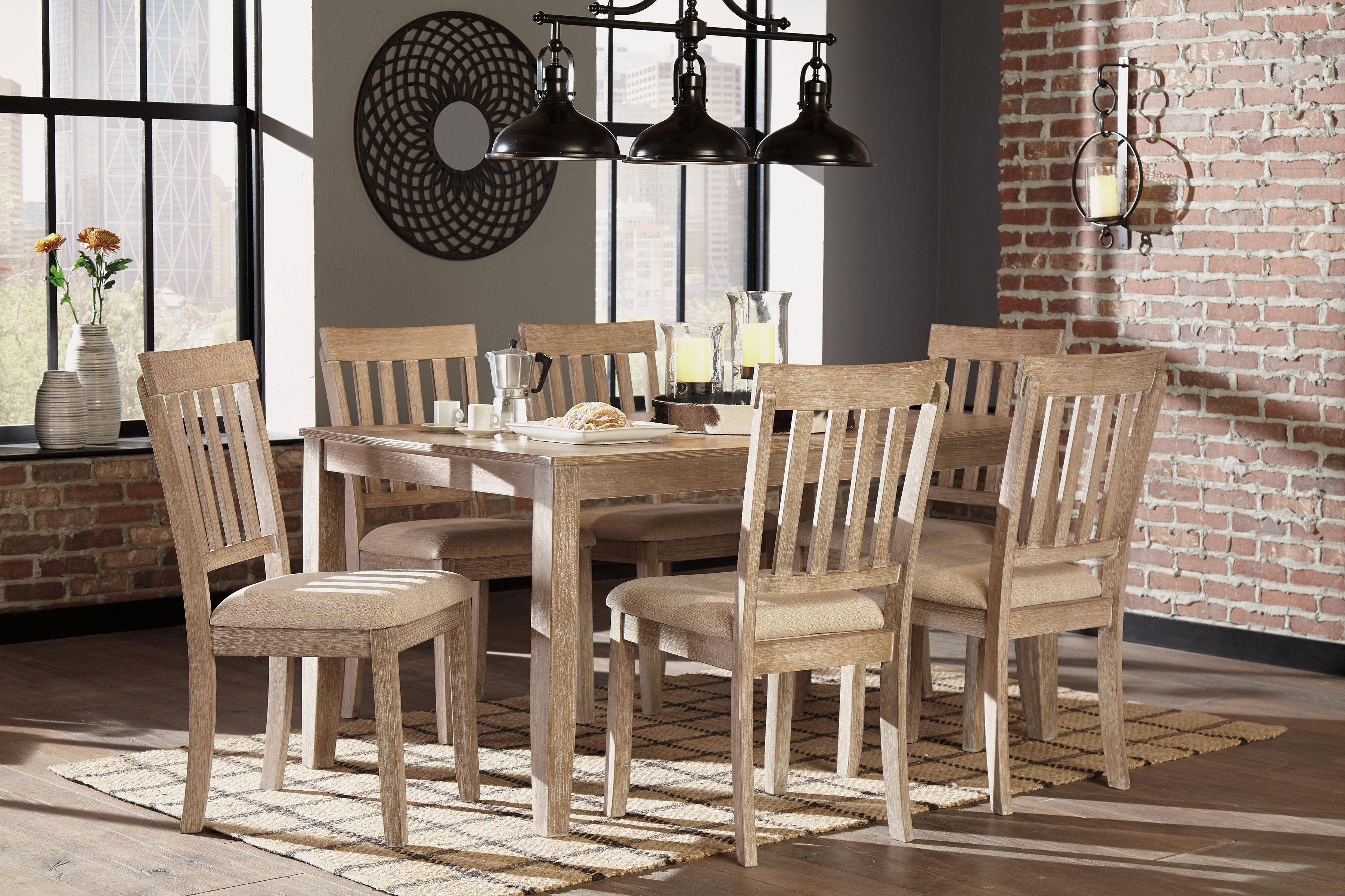 Ashley Mattilone D484 Dining Room Set 7pcs In White Wash