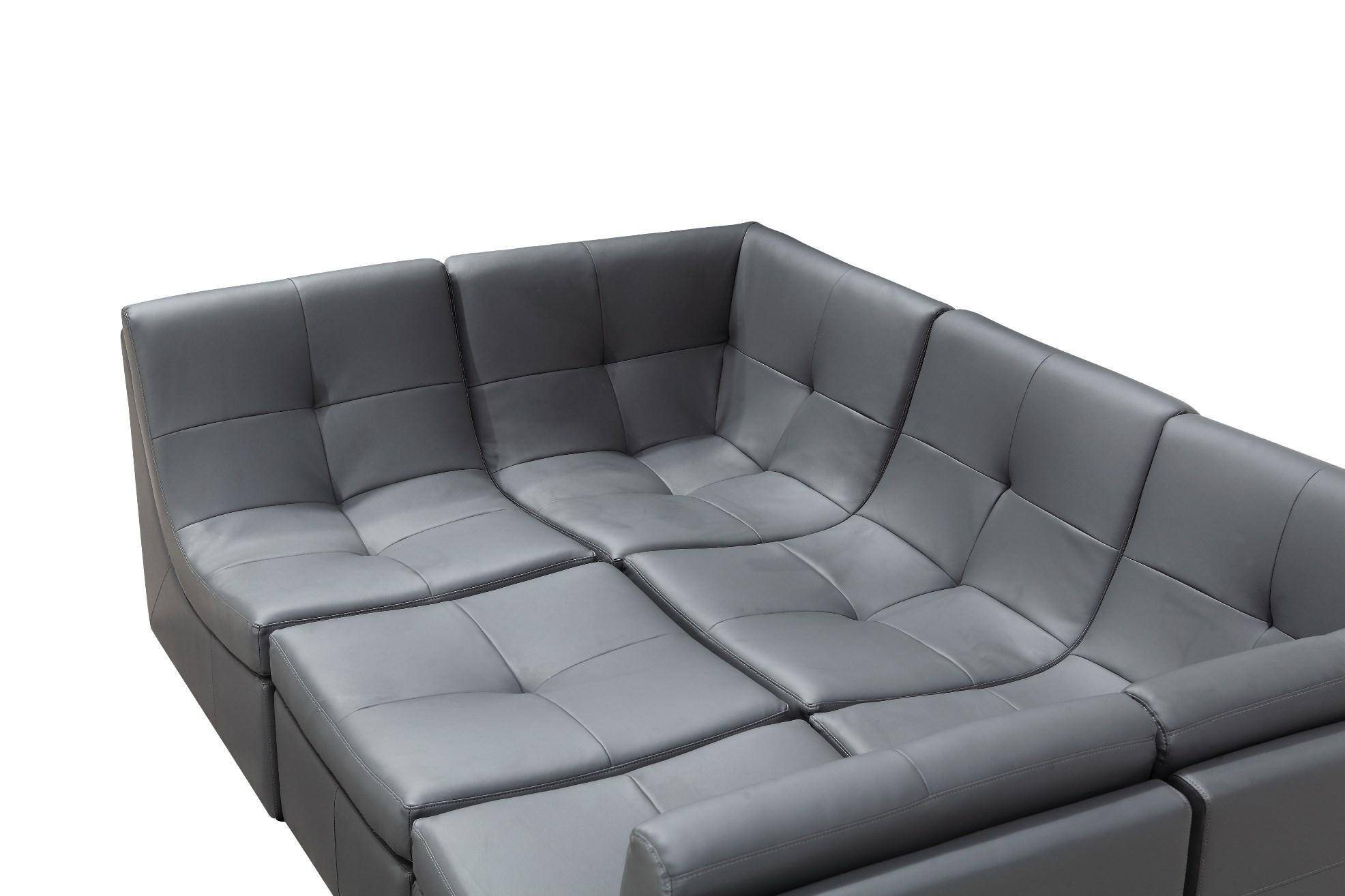 Modern Grey Bonded Leather Sectional Modular Sofa Set 6Pcs ...
