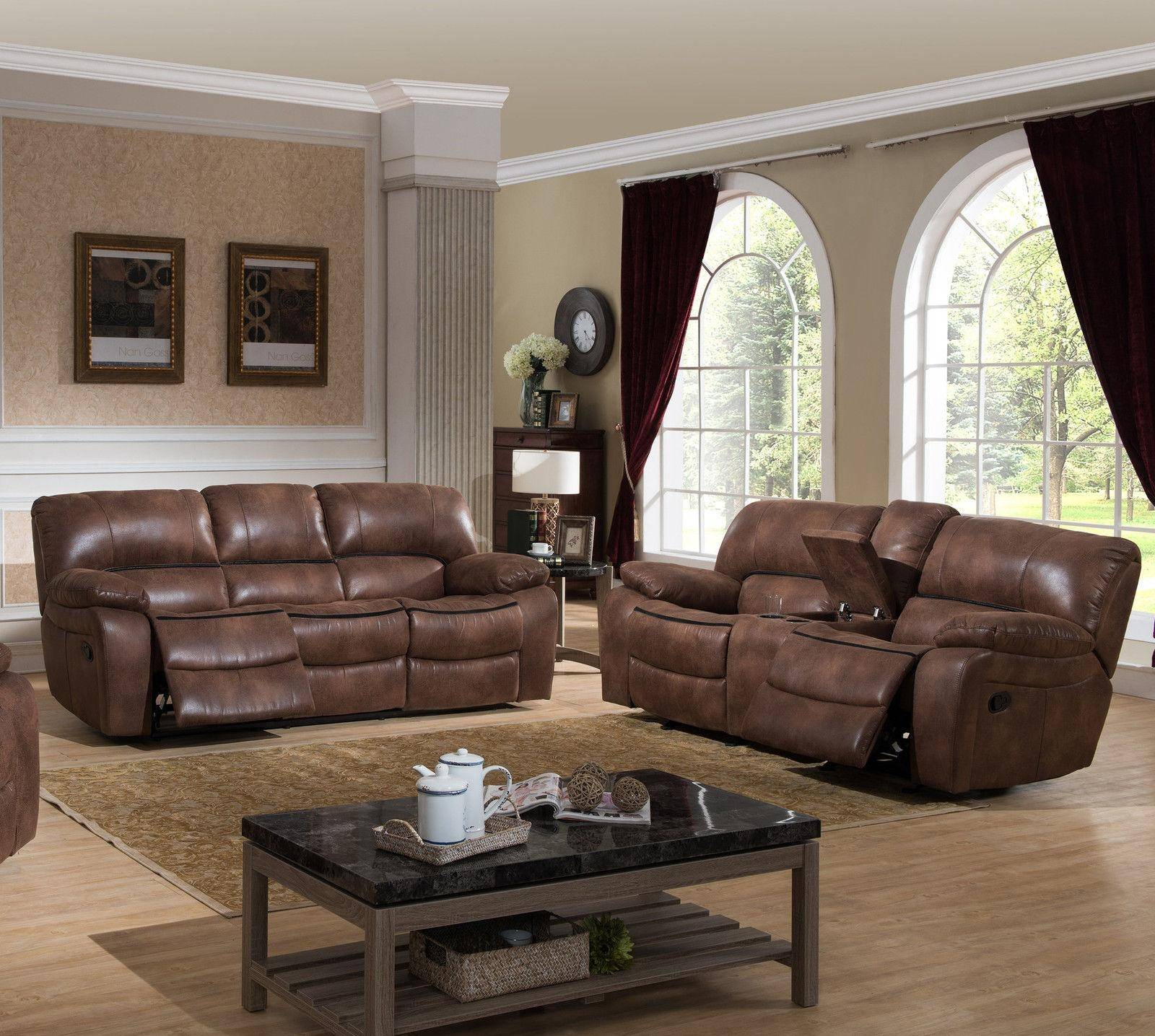 Ac Pacific Leighton Modern Brown Fabric Reclining Living