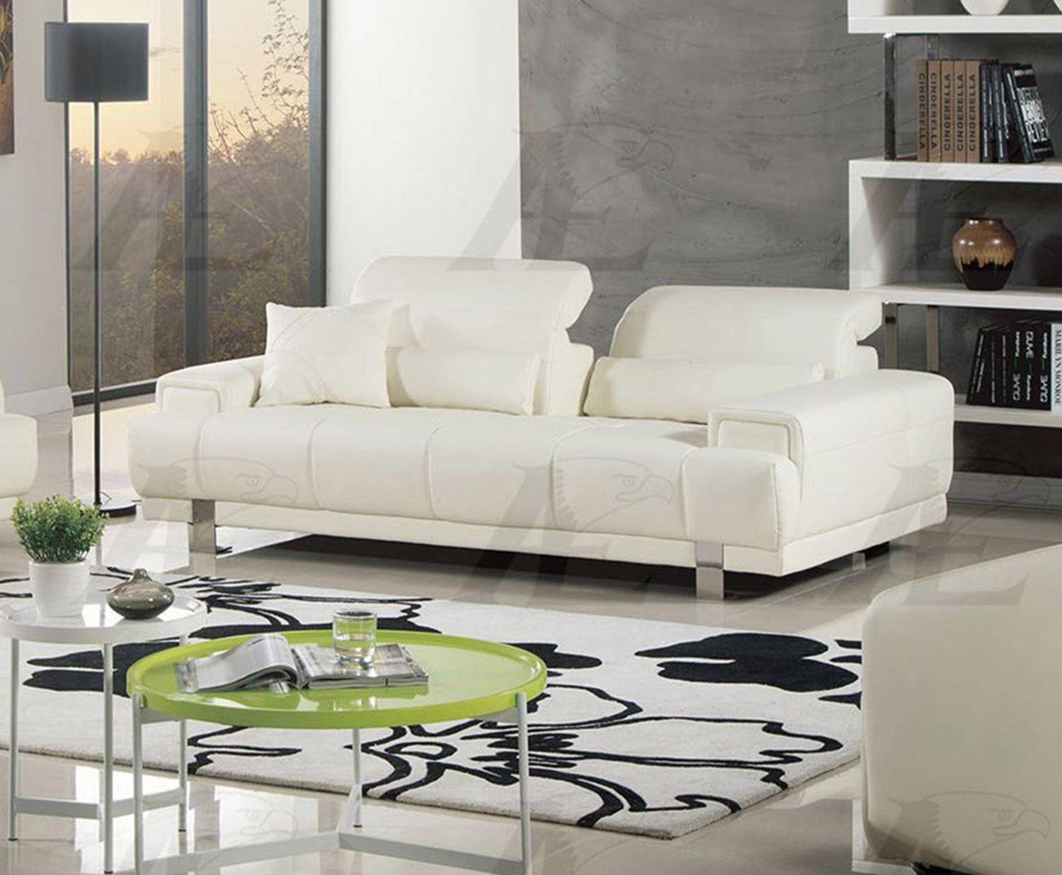 American Eagle Furniture Ae606 Iv Ivory Sofa Faux Leather Modern