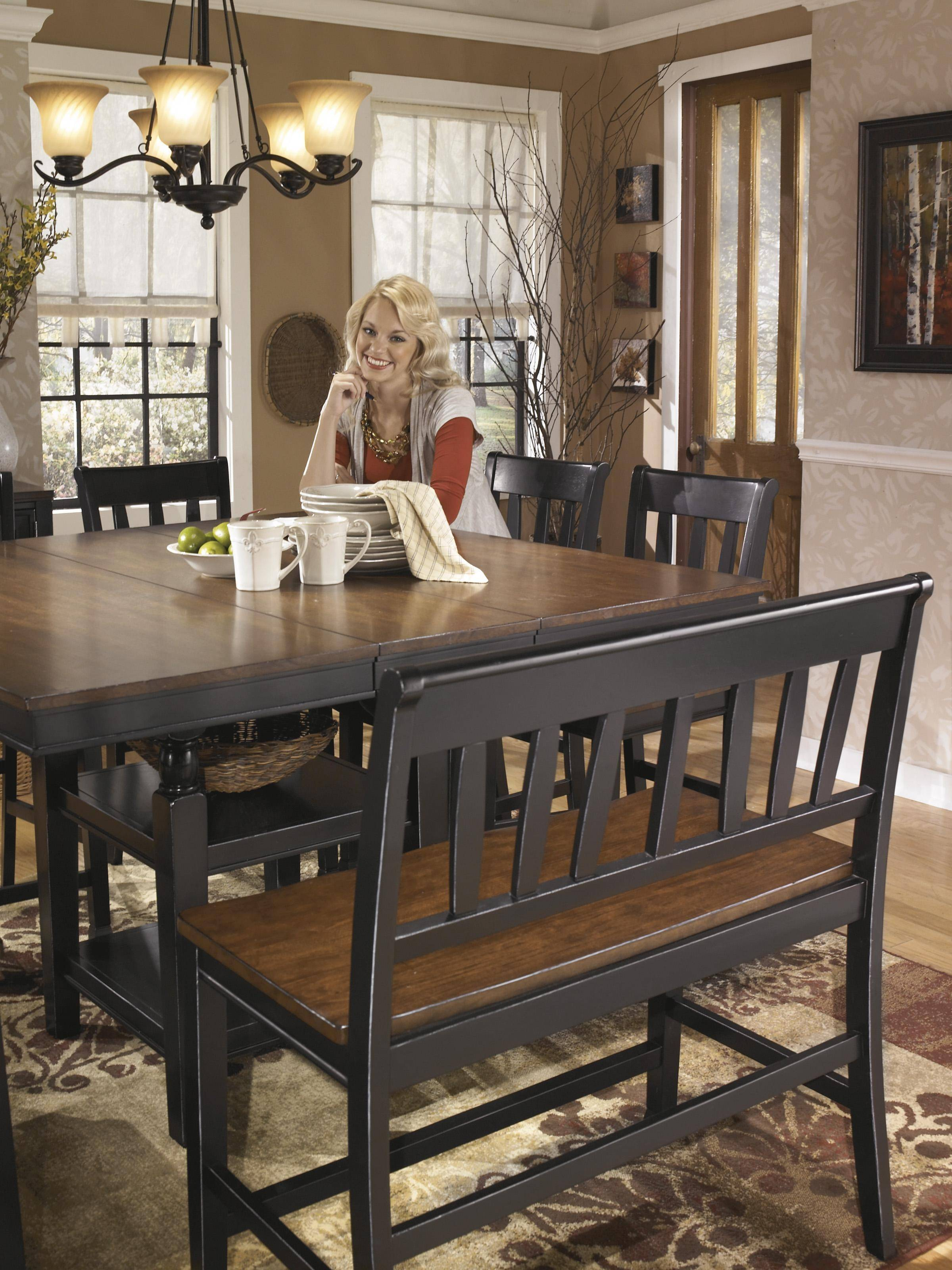Ashley Owingsville D580 Dining Room Set 8pcs In Black Brown Square Table D580 32 224 6 323