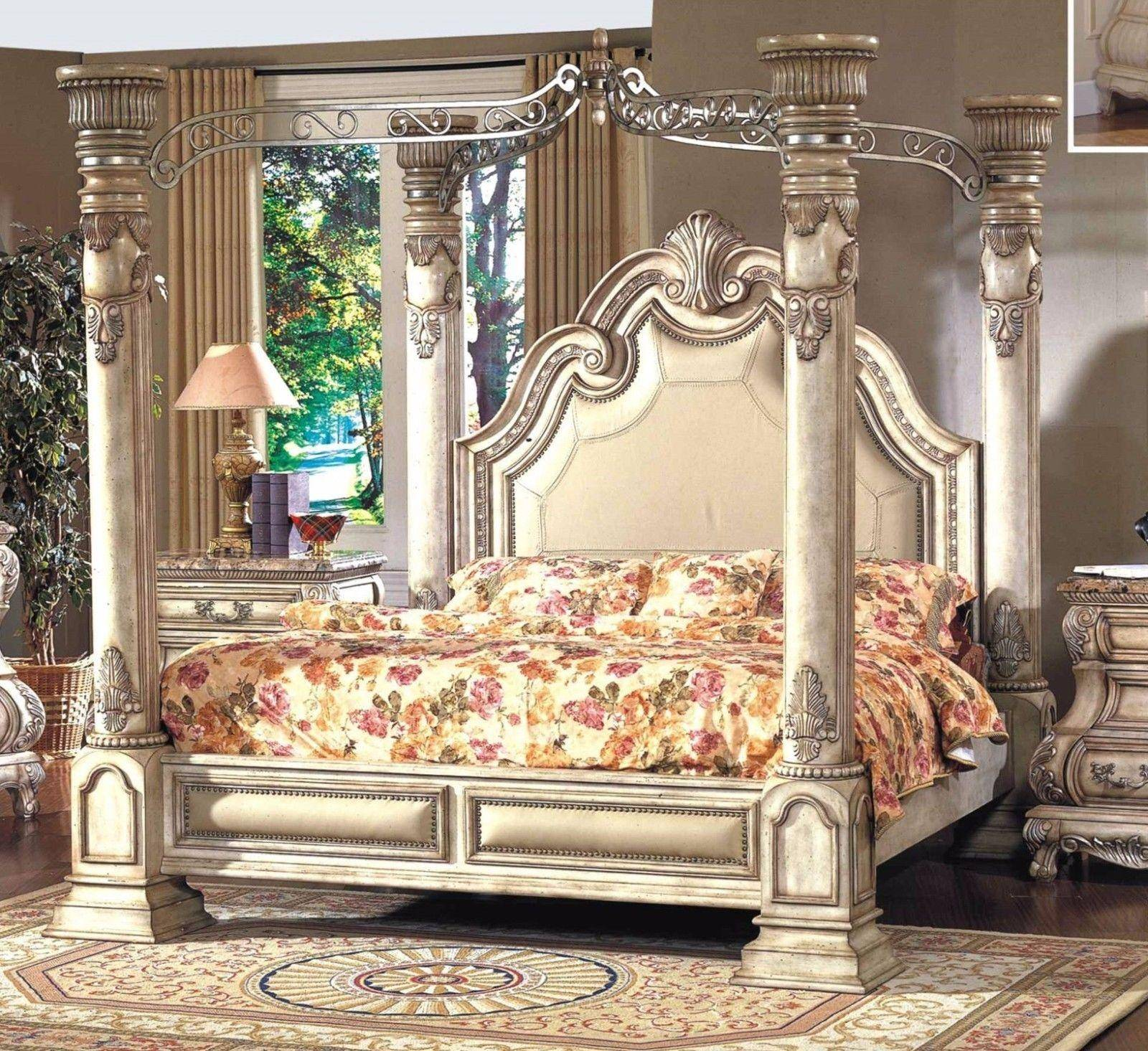 Mcferran B9097 Ek Monaco Blanc Luxury King Size Canopy Bedroom Set