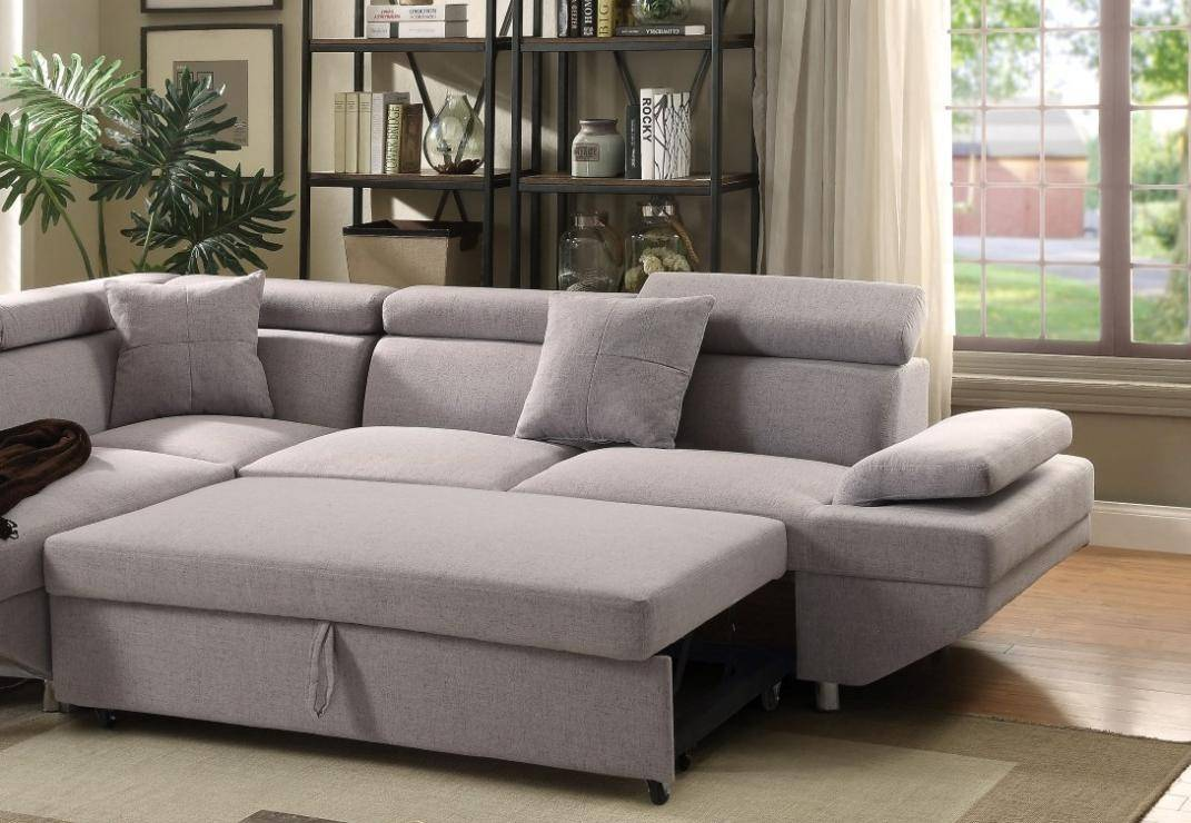 Surprising Gray Fabric Sectional Sofa W Sleeper Left Acme Furniture Gmtry Best Dining Table And Chair Ideas Images Gmtryco