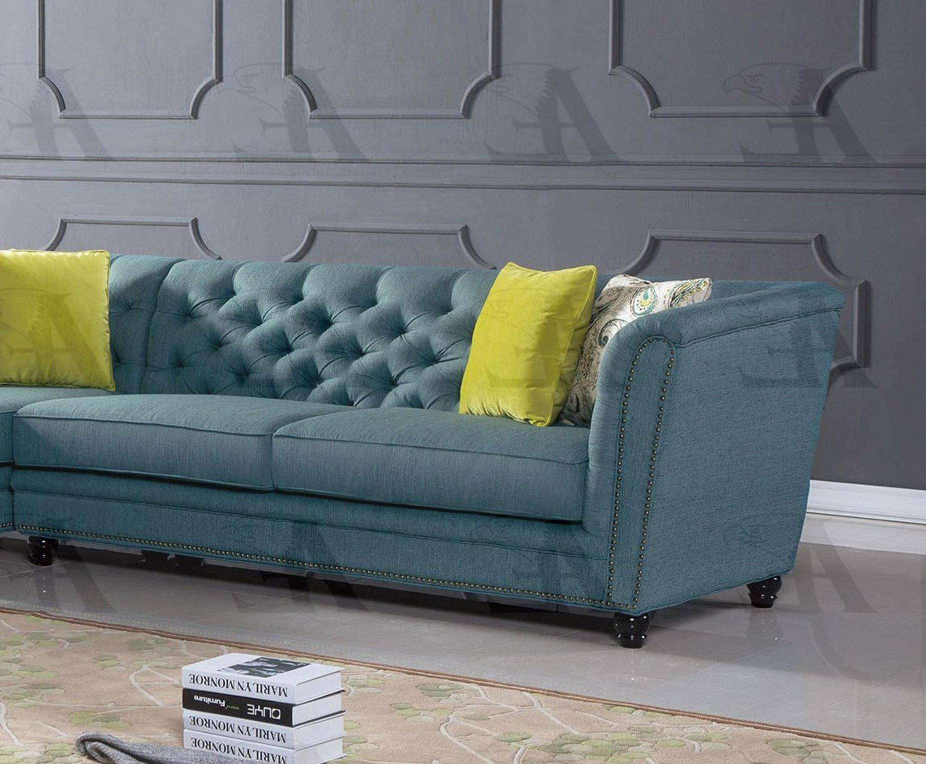 Cool American Eagle Furniture Ae L2219 Blue Fabric Tufted Sectional Sofa Living Room Set Right Hand Chase 2Pcs Download Free Architecture Designs Scobabritishbridgeorg