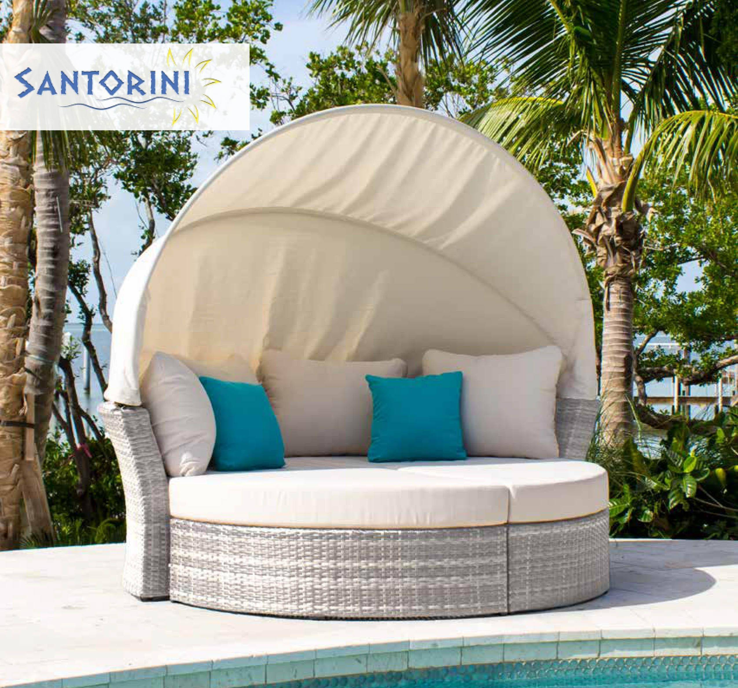 Santorini Canopy Daybed 2 Ottomans W
