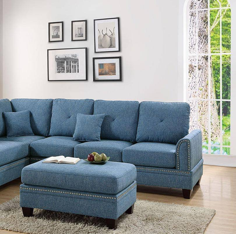 Superb Blue Fabric Upholstered 2 Pcs Sectional Sofa Set F6512 Poundex Traditional Inzonedesignstudio Interior Chair Design Inzonedesignstudiocom