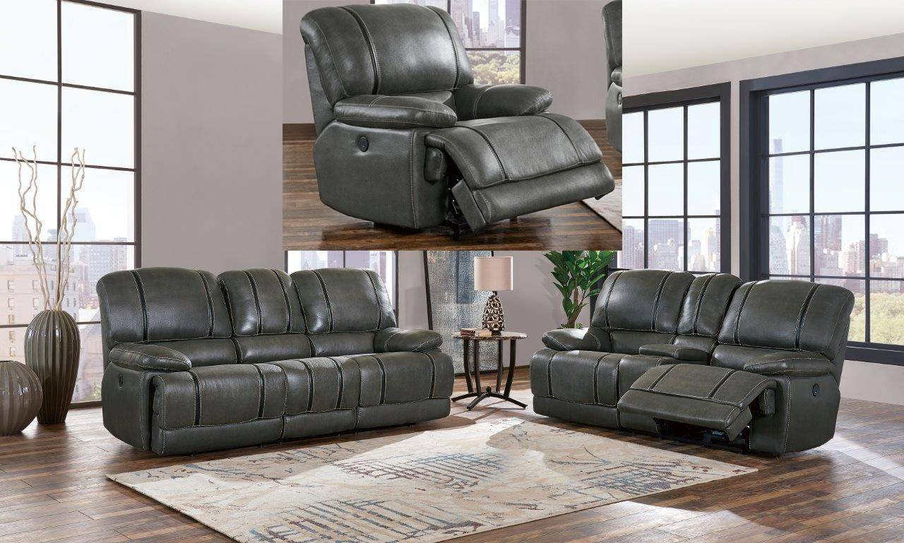 Charcoal Grey Faux Leather Recliner