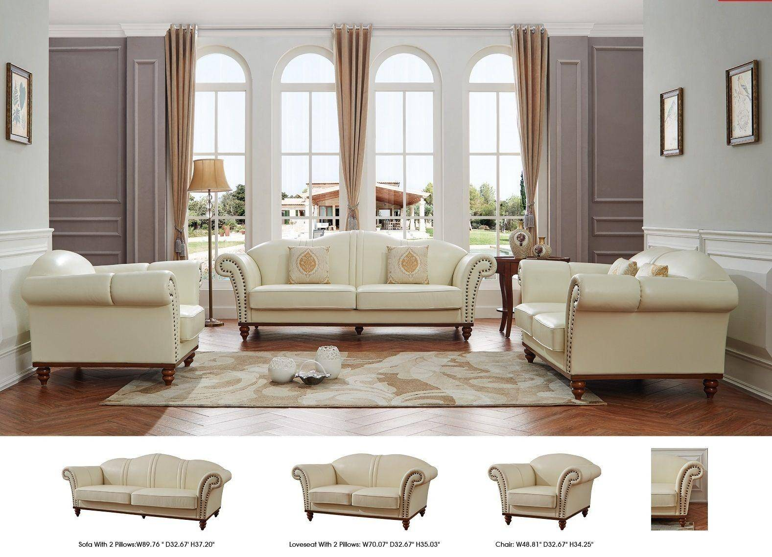 ESF 2601 Ivory Modern Italian Leather Living Room Sofa Made ...