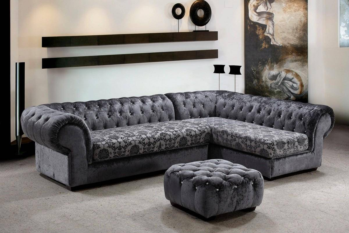 Soflex Nashville Modern Gray Fabric Tufted Crystals Sectional Sofa Set 3Pcs  Right Chaise