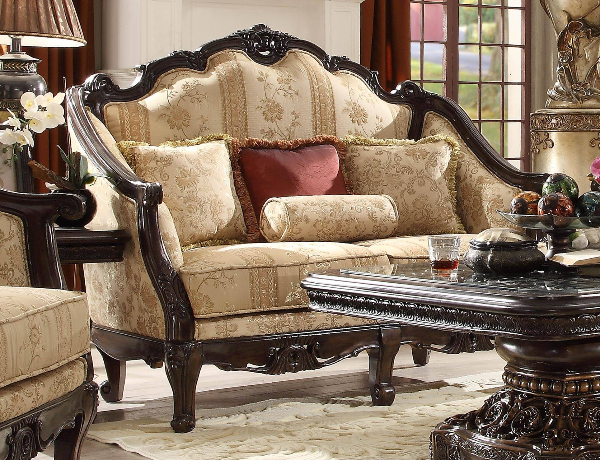 Cool Homey Design Hd 953 Luxury Upholstery Golden Beige Dark Brown Carved Wood Living Room Sofa Loveseat And Coffee Table Set 3Pcs Unemploymentrelief Wooden Chair Designs For Living Room Unemploymentrelieforg