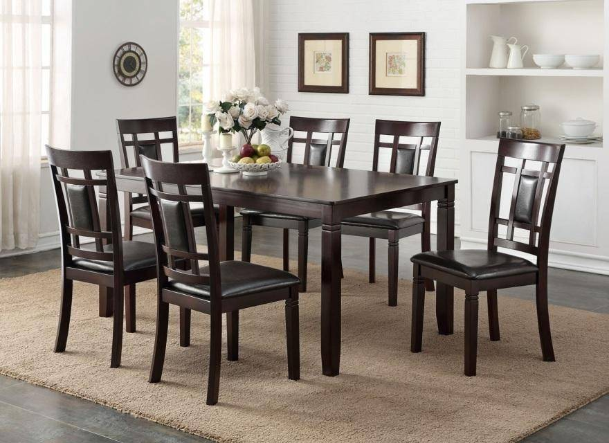 Happy Homes Hh2325 Modern Rectangular Espresso Finish Dining Table Set 7 Pcs Hh2325 Dt Set 7 Buy Online