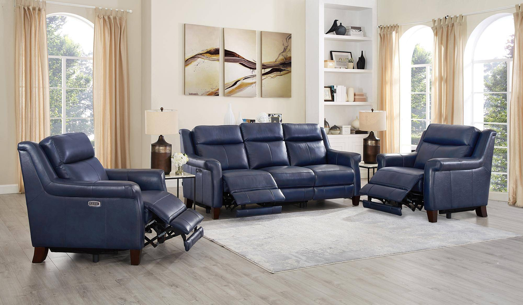 Fabulous Chatham Blue Genuine Leather Power Reclining Sofa Chair Set Beutiful Home Inspiration Truamahrainfo