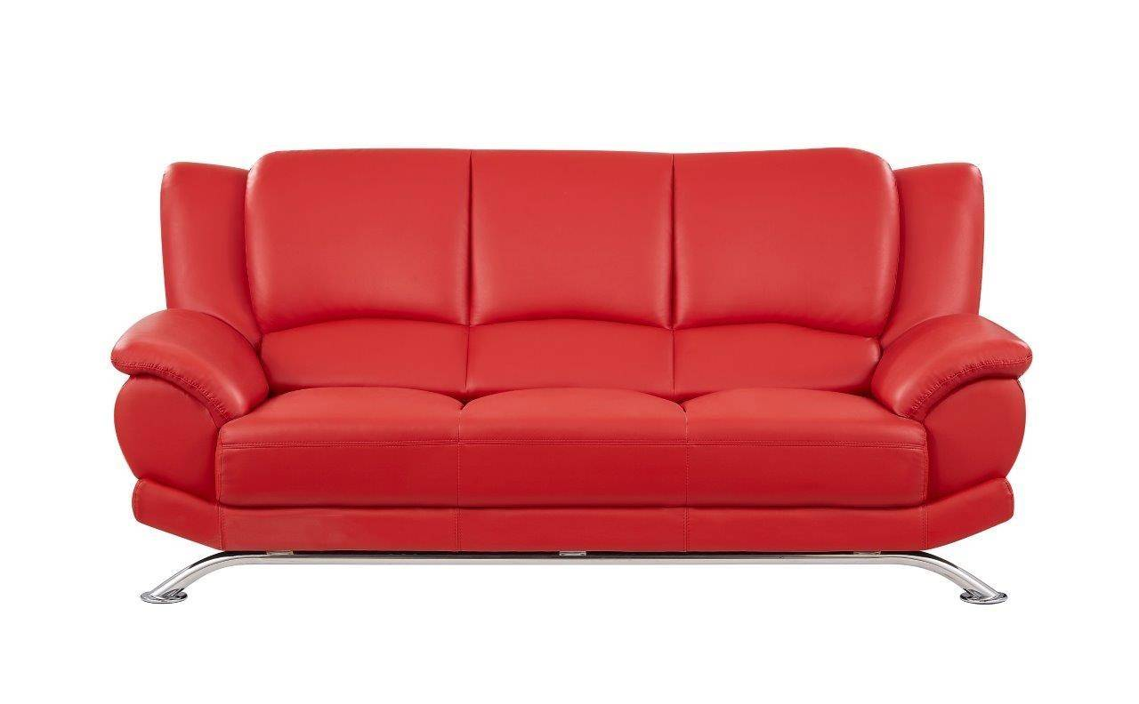Global Furniture U9908 R Contemporary Red Leather Gel Living Room ...