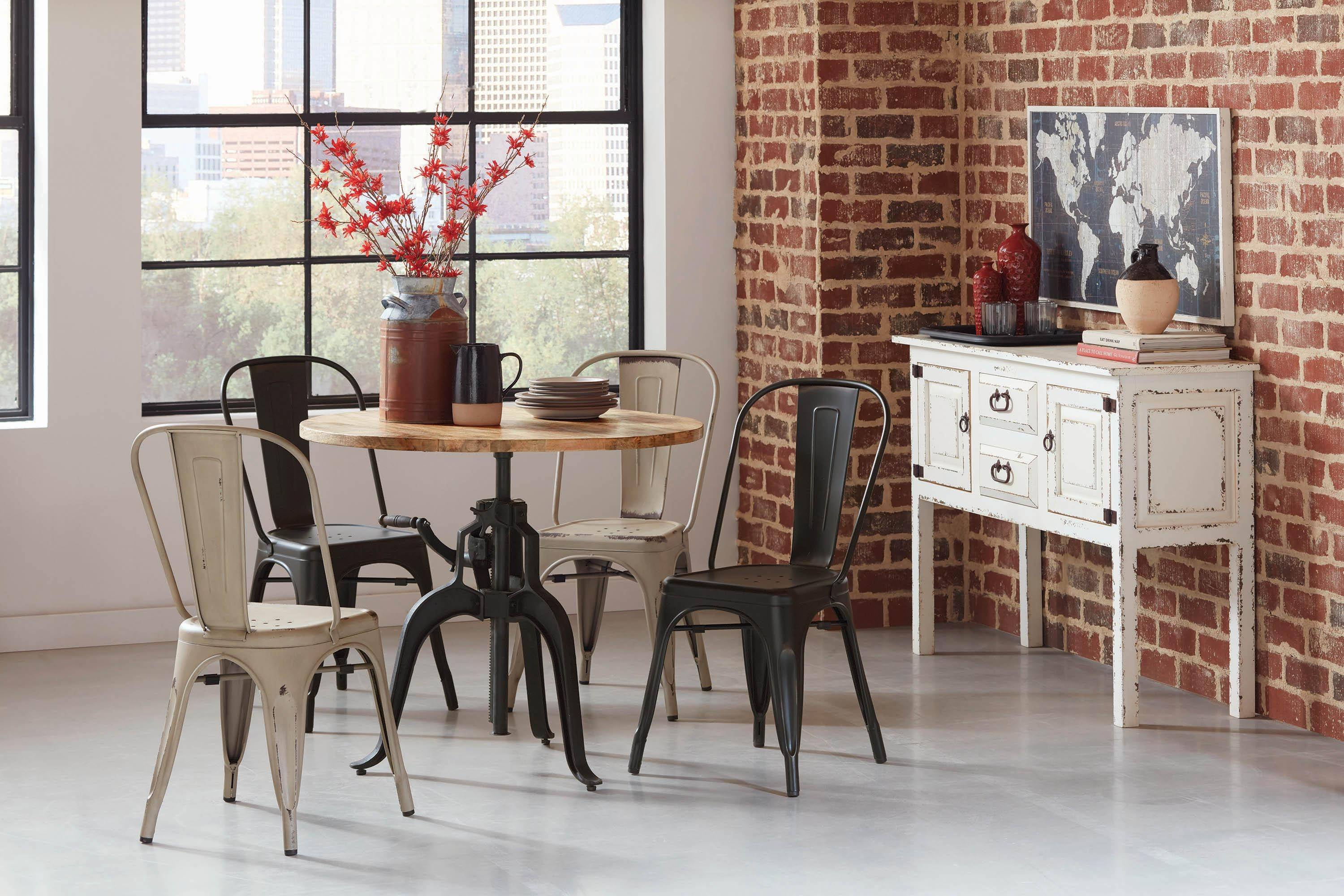 Sensational Modern Black Metal Dining Chair Set 4 Pcs Highland By Squirreltailoven Fun Painted Chair Ideas Images Squirreltailovenorg