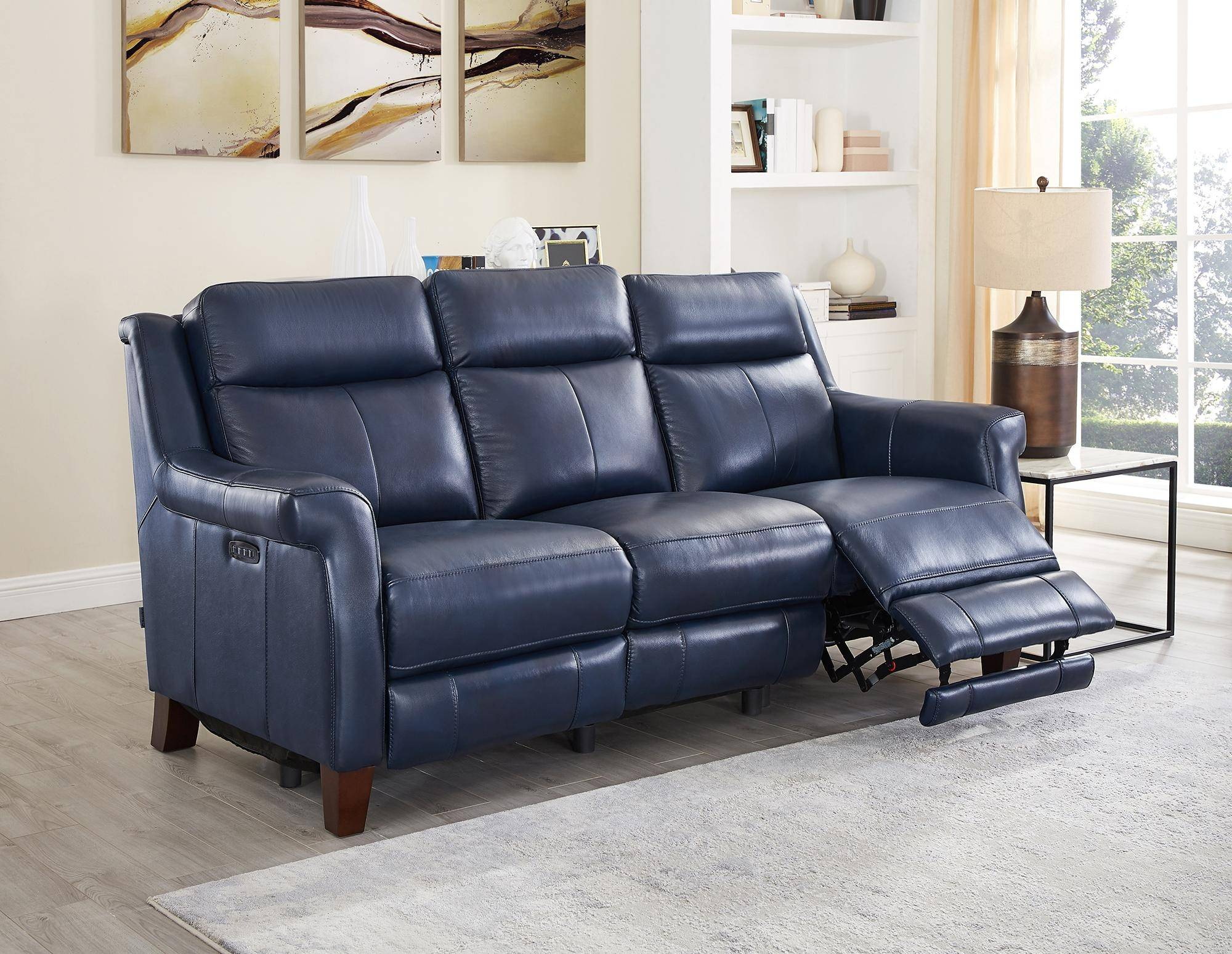 Chatham Blue Genuine Leather Power Reclining Sofa Navona